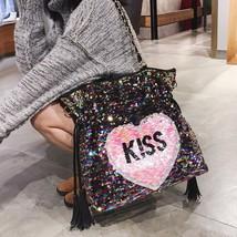 Heart Sequined Women Chain Shoulder Bag Fashion Tassel Luxury Sweet Kiss... - $38.69