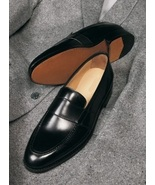 Mens Handmade Black Leather penny loafers custom made men shoes classic shoes - $159.90 - $189.90