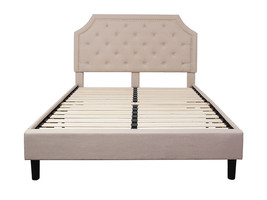 Offex Queen Size Tufted Upholstered Platform Bed - Beige Fabric - $412.83