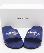NIB Balenciaga Blue Leather Pool Slide Sandals New 11 41  $495 - $295.00