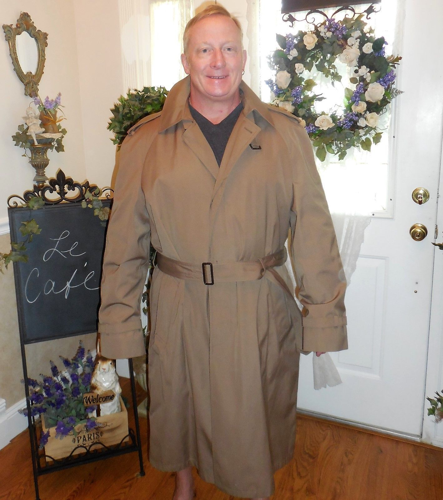 Primary image for VTG Botany 500 Khaki Rain/Trench Coat Overcoat 46L Zip Out Plaid Lining Classic