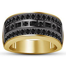 Black Diamond Mens Wedding Engagement Pinky Ring Band in 925 Sterling Si... - £70.51 GBP