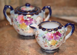 VINTAGE CREAM PITCHER & SUGAR BOWL COBALT GOLD GILT HAND PAINTED FLORAL  - $79.99