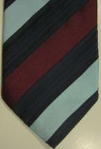 NEW Ermenegildo Zegna Teal Dark Red & Black Wide Stripes Cotton & Silk Tie - $74.53