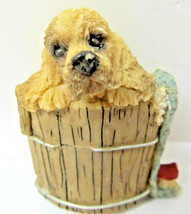 Figurine - Spaniel Dog in a Barrel - 3 1/2 inches tall - $7.91