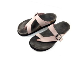 Mephisto Women's Helen Sandals Pink/Brown Leather Slipon Thong Shoes 38 ... - $64.17