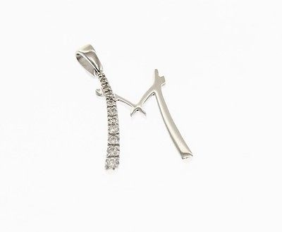 18K WHITE GOLD PENDANT CHARM INITIAL M LETTER M AND CUBIC ZIRCONIA MADE IN ITALY