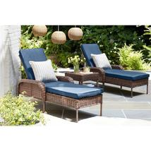 Cambridge Brown Wicker Outdoor Chaise Lounge with Blue Cushions - $257.95