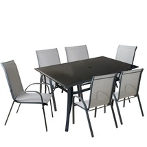 Northlight 7-Piece Black Gray Outdoor Mesh Steel Rectangle Patio Dining Set - $648.44