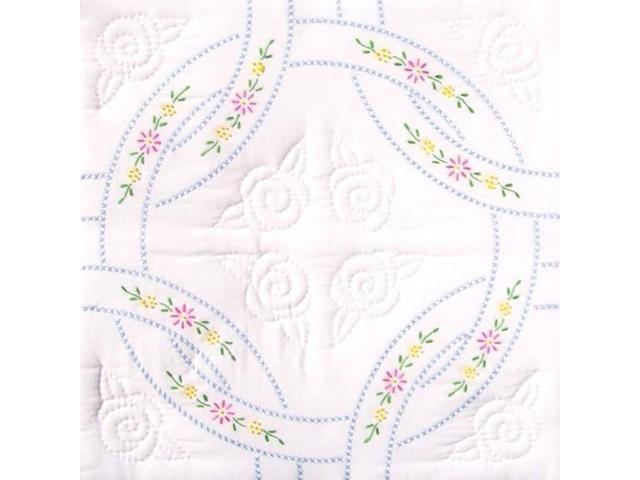 Jack Dempsey Stamped White Quilt Blocks, Interlocking Wedding