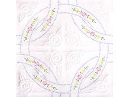 Jack Dempsey Stamped White Quilt Blocks, Interlocking Wedding image 1