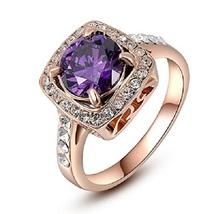 Cushion Cut Purple Amethyst 14k Rose Gold Plated 925 Silver Women's Wedding Ring - $74.99