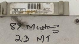 89 Ford Mustang 2.3L 5spd Manual ECU ECM PCM Engine Computer E8TF-12A650-CU3A image 3