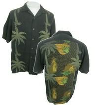 "Tommy Bahama Men Hawaiian camp shirt p2p 22"" S vintage luau tropical hula girl - $44.54"