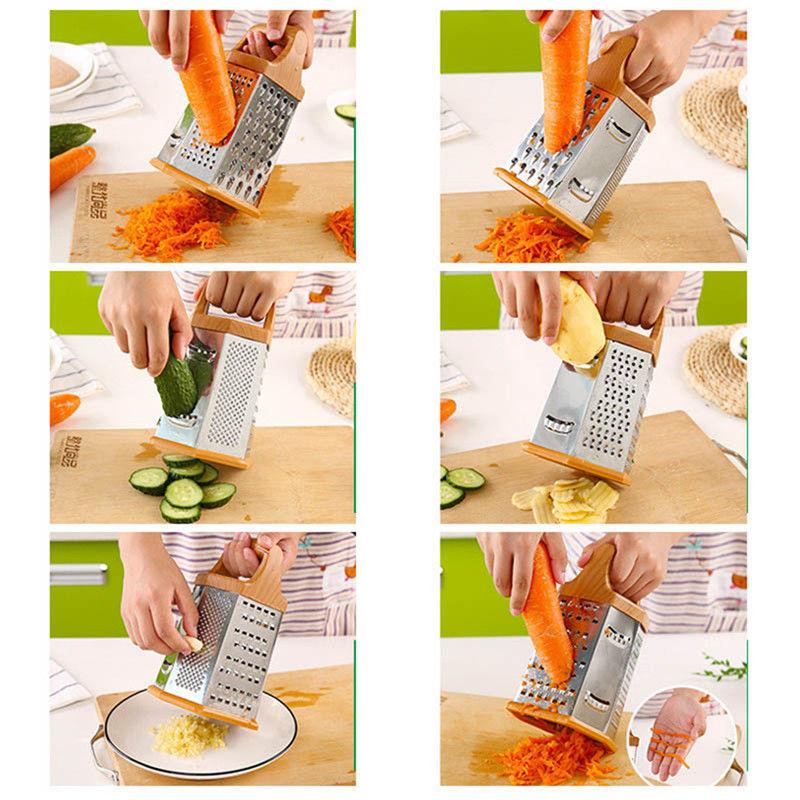 Multifunctional 4-Sided Box Food Grater Vegetable Cheese Slicer Shredder K4Y5