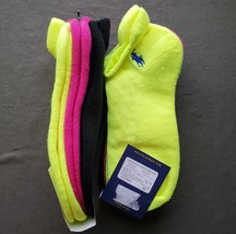 Polo Ralph Lauren Women's Ankle Socks 6 Pack 9-11 Black Pink Neon Sport ... - $23.99