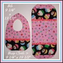 Cupcake Baby Bib Burp Cloth Cupcakes Shower Gift Set Polka Dot Dots - $22.00