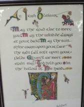 AN IRISH BLESSING CELTIC CALLIGRAPHY ART WALL PLAQUE SIGNED by ARTIST 1984 - €8,33 EUR