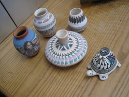Native American Horsehair Pottery Lot of 5 Pieces Signed and Beautiful - $49.99
