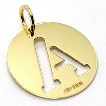 18K YELLOW GOLD LUSTER ROUND MEDAL WITH A LETTER A MADE IN ITALY DIAMETER 0.5 IN image 3