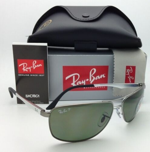 Polarized RAY-BAN Sunglasses RB 3506 029/9A 64-13 Matte Gunmetal w/ Green lenses