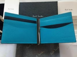 Paul Smith Boxed Money Clip Safiano Wallet 8 card Bifold Taupe Blue - $195.00
