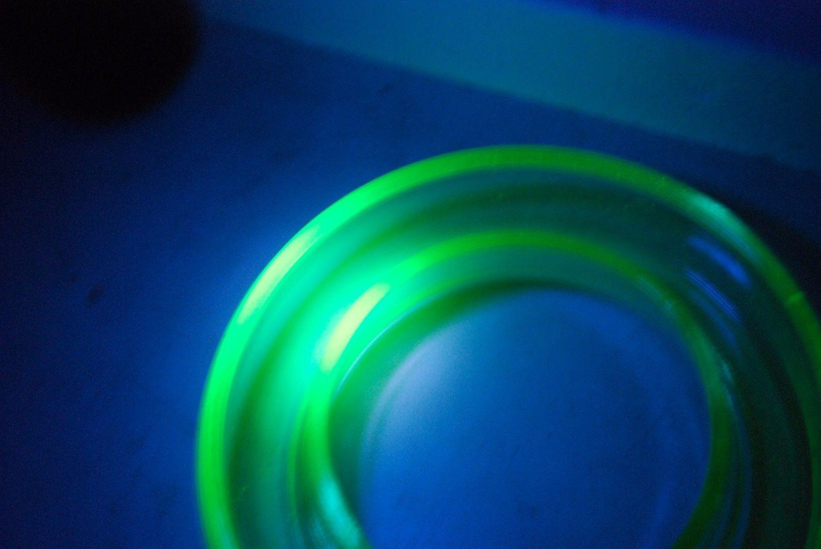 Art Deco Flower Ring Vase Uranium Glass  - UV Tested - 1930's - 30's     #9005