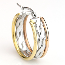 Unique Twisted Tri-Color Silver, Gold & Rose Tone Hoop Earrings- United Elegance image 2