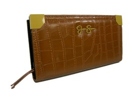 Jessica Simpson Logo Wallet Purse Hand Bag CognacTan Croco Zip Around & Snap NWT - $39.59