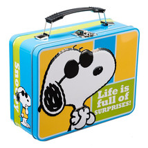 Peanuts Snoopy as Joe Cool Large Carry All 2 Sided Tin Tote Lunchbox NEW... - $14.50