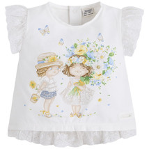 Mayoral Baby Girls 3M-24M Lace Hem Little-Girl-Friends Novelty Print Top/Tee