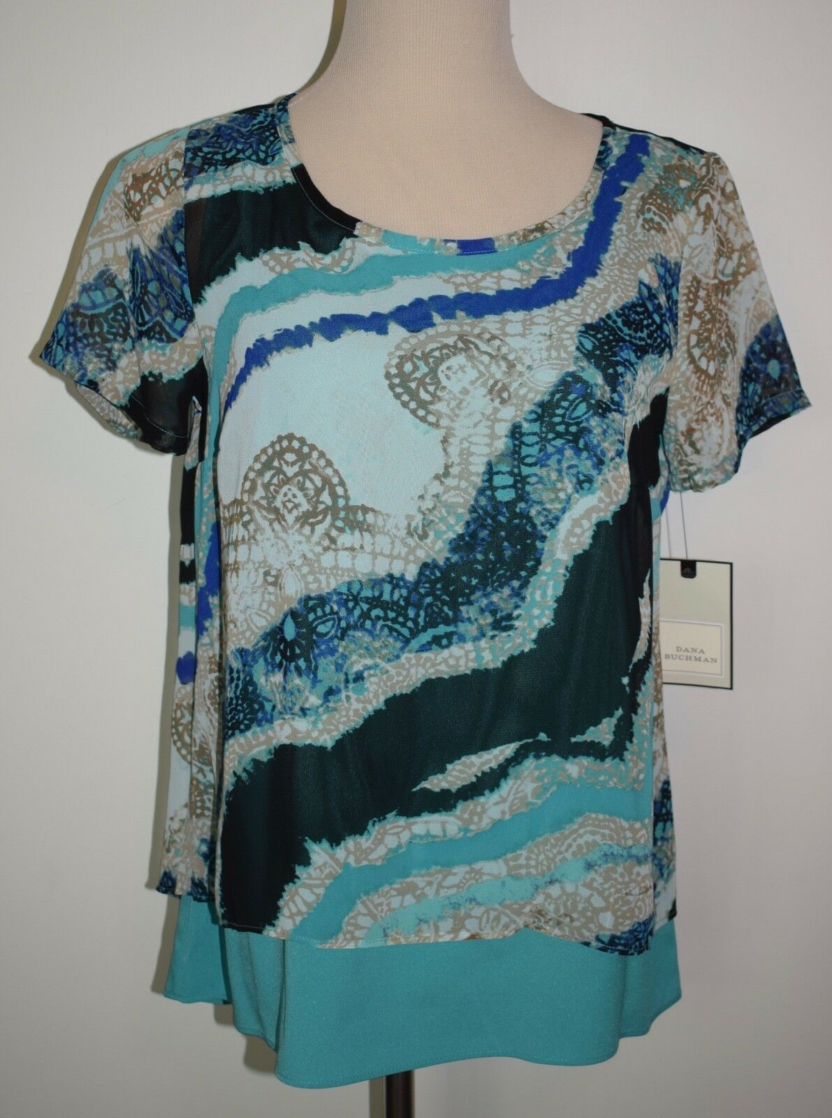 Primary image for New Dana Buchman Small Blouse Split Back Layered Short Sleeve Aqua Design Top