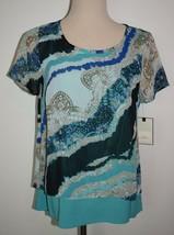 New Dana Buchman Small Blouse Split Back Layered Short Sleeve Aqua Desig... - $17.47