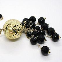 Halskette Silber 925, Gelb, Groß Kugel Strick, Wasserfall Onyx Schwarz image 5