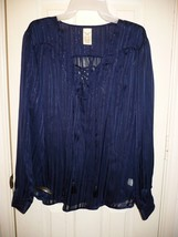 Faded Glory Women's Long Sleeve Foiled Lace Up Blouse Blue Sapphire XXL ... - $14.84