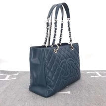 RARE AUTH CHANEL BLUE QUILTED CAVIAR GST GRAND SHOPPING TOTE BAG image 4