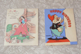 Disney Greeting Cards Lot Snow White & The 7 Dwarfs Vintage 2 different - $24.99