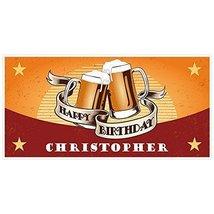 Orange Mugs Oktoberfest Birthday Banner Personalized Party Backdrop Deco... - $22.28
