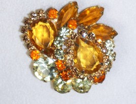 Amber and Citrine D & E  Julianna Vintage Brooch Pin Jewelry Vintage - $64.13