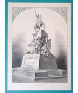 RUSSIA Monument to Cossack Chief Bogdan CHmielnicki - 1880s Wood Engravi... - $22.49