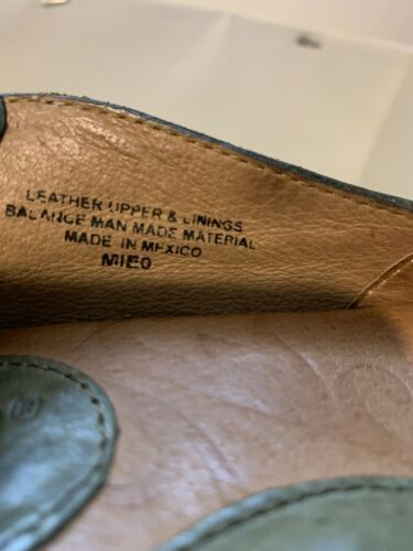 EUC Born Olive Green Mido Leather Elfish Boho Floral Slip On Flats Size 6/36.5