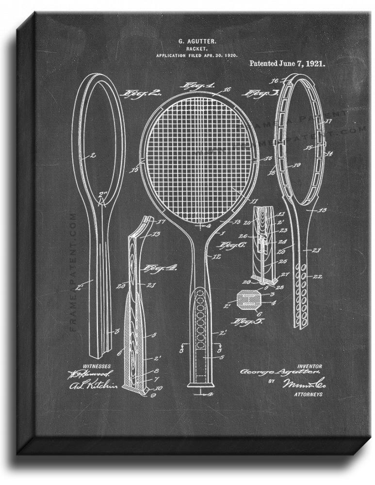 Primary image for Tennis Racket Patent Print Chalkboard on Canvas