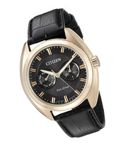 Citizen Men's 'Dress' Quartz Stainless Steel And Leather Casual Watch, Color:Bla - $118.99