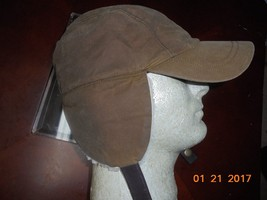 mens j crew brown waxed canvas Cap Hat with surpa ear flaps Large - $29.69