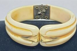 Vintage Hinged Bracelet Cream Color with Gold Tone Metal - $22.50