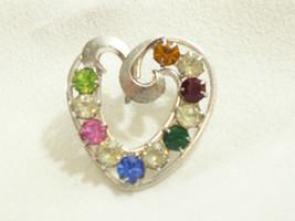 Vintage deLillo Heart Sterling Silver Rhinestone Multi Colr Brooch Pin Valentine - $22.28