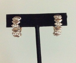 Vtg Swarovski Signed Crystal & Rose Tone Huggie Hoop Clip On Earrings - $19.79