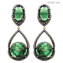 Vintage Emerald Gemstone 925 Silver Pave Diamond Dangle Earrings Gold Je... - $1,524.60