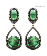 Vintage Emerald Gemstone 925 Silver Pave Diamond Dangle Earrings Gold Je... - $1,524.60