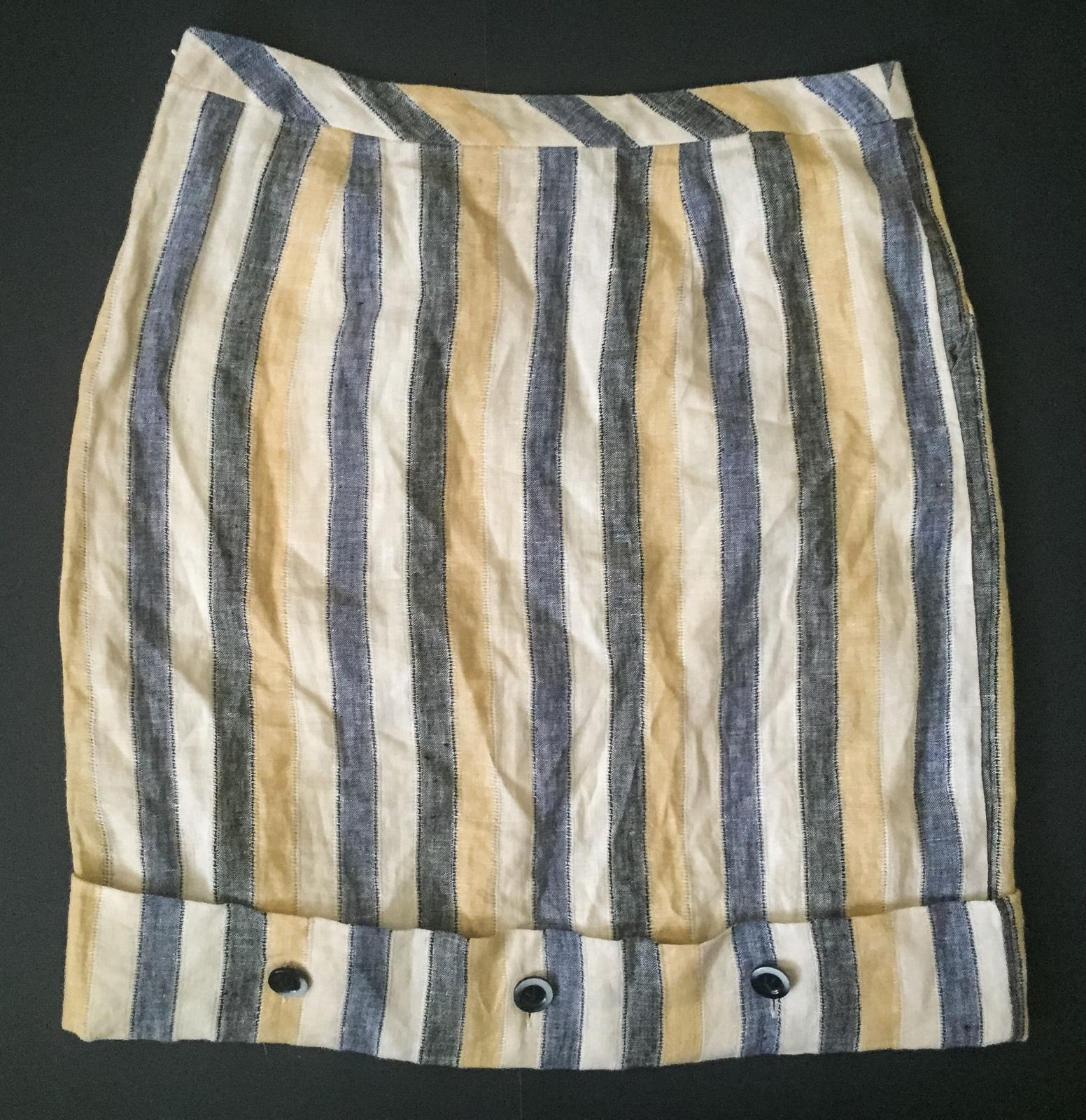 Anthropologie Edme & Esyllte Linen Skirt 4 Striped Cafe Awning Button Pockets